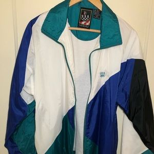 Vintage White/Blue/Green USA Olympic Windbreaker